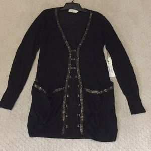 Sweaters - NWT black cardigan with gold accents
